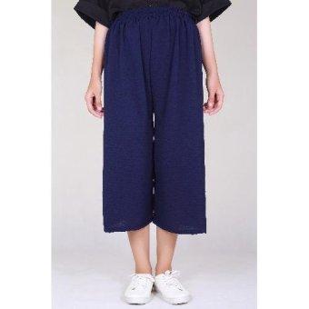 Auzara Pallazo Midi Cullote Pants - Navy Blue