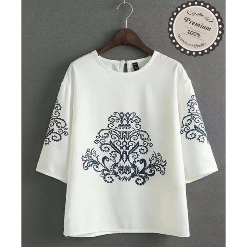 Ayako Fashion Atasan Wanita Blouse Sasa - (White) - YU
