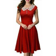 Ayako Fashion Dress Midi Caca - REI (Merah)
