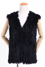 Azone Autumn Spring Women's Slim Knitted Fur Vest Soft Fur Waistcoats Vest (Black)