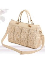 Azone Fashion Korean Women PU Leather Messenger Bag Tote Shoulder Bag Lace Handbag (Beige)