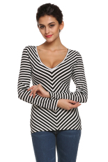 Azone Finejo Women Casual Long Sleeve V Neck Black And White Striped T-Shirt Blouse (Black And White)