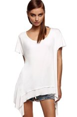 Azone Finejo Women Loose Round Neck Batwing Sleeve Backless Irregular Stretch Solid T Shirt Tops (White)