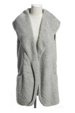 Azone Korea Women's Girls Fashion Elegant Warmer Casual Bushy Hoodie Long Vest Coat (Grey)