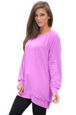 Azone Ladies Women Casual O-neck Long Batwing Sleeve Loose T-shirt (Purple) - Intl