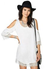 Azone Lady Sexy Women's Casual O-neck Lace Trim Tops Long Shirt Blouse (White)