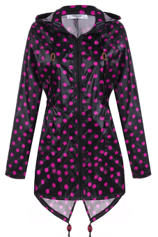 Azone Meaneor Women Girls Dot Raincoat Fishtail Hooded Print Jacket Rain Coat (Black And Rose Red)