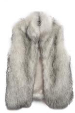 Azone New Fashion Women's Faux Fur Vest Medium Long Stand Collar Jackets Coat Vest Waistcoats (Grey)