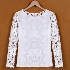 Azone Stylish Sexy Women Long Sleeve O-neck Hollow Out Lace Floral Tops Shirt Blouse (White)