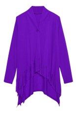 Azone Women Casual Coat Single Button Long Sleeve Tassel Asymmetric Hem Outwear Top (Purple)