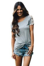 Azone Women Fashion Casual T-Shirts Short Sleeve Hollow Lace Patchwork Solid T Shirt Tops (Grey) - Intl
