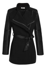 Azone Women Lapel Long Sleeve Synthetic Leather Patchwork Wool Blend Trench Coat Outerwear (Black)