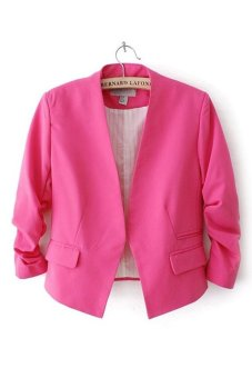 Azone Women OL Style Candy Color Thin Suit Outerwear 3/4 Sleeve Coat Casual Blazer Rose Red