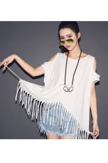 AZONE Women Print Off Shoulder Long Fringe Hem Loose Casual T-shirt White