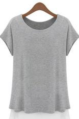 Azone Women's Chiffon Edge Color Round Collar Short Sleeve Loose T-Shirt Blouse Tops