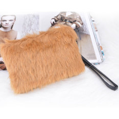 Azone Women's Elegant Clutch Bag Faux Fur Handbag Wallet Candy Color Clutch (Brown) - Intl