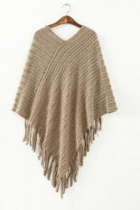 Azone Women's Oblique Stripe Tassels Wraps Cape Sweater (Coffee)