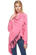 Azone ZEAGOO Fashion Lady Women's Folded Collar Long Sleeve Tassels Irregular Tops Long T-shirt (Red)
