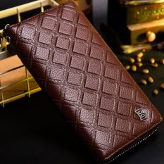 BABORRY Multifunctional Men's Fashion PU Leather Long Wallet Creative Hand Strap Zip Closures - Coffee