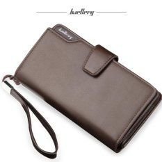 Baellerry Dompet Pria Fashion Import PU leather premium long wallet with zipper- Coklat