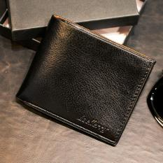 Baellerry Dompet Pria Fashion Import PU Leather Slim Wallet with Box- Hitam