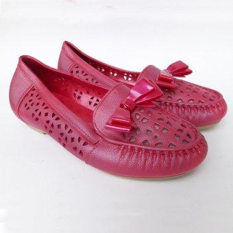 Baglis Sepatu Wanita Jelly Flat Shoes Ribbon - Pink