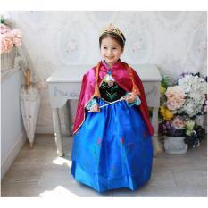 Baju Dress Kostum Frozen Princess Anna Jubah Merah