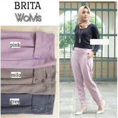 Baju Original Brita Pants Wolfis Celana Wanita Muslimah Joger Cewek Panjang Casual Warna Grey