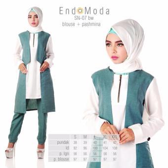 Baju Original Endo Moda Blouse Atasan SN-07 Kaos Wanita Baju Muslim Tunik Kemeja Kaos Broken White