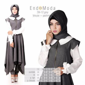 Baju Original Endo Moda Blouse Atasan SN-12 Kaos Wanita Baju Muslim Tunik Kemeja Kaos Grey