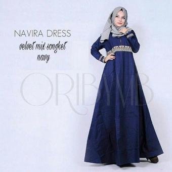 Harga Baju Original Navira Dress Gamis Velvent Mix Songket Gaun