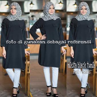 Baju Original Nikita Tunik Wolfice Baju Atasan Panjang Wanita Muslimah Pakaian Hijab Modern Casual Simple Trendy Hitam