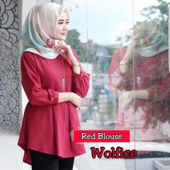 Baju Original Red Blouse Baju Wanita Atasan Panjang Casual Atasan Wanita Hiab