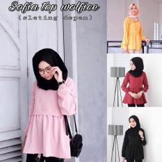 Baju Original Sofia Top Blouse Wolfice Atasan Wanita Muslim Pakaian Hijab Trendy Modern Baju Casual Maroon