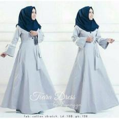 Baju Original Tiara Dress Gamis Wolfice Gaun Pesta Panjang Baju Hijab Terusan Pengajian Wanita Muslimah Warna Grey