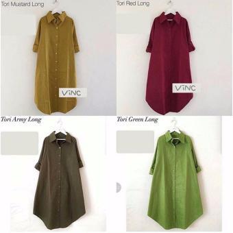 Baju Original Tori Long Tunik Katun Baju Atasan Panjang Wanita Muslimah Pakaian Hijab Modern Casual Simple Trendy Warna Green