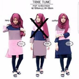 Baju Original Trixie Tunik Baju Atasan Panjang Wanita Muslimah Pakaian Hijab Modern Casual Simple Trendy Warna Navy