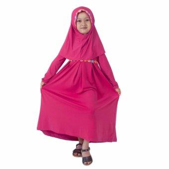 Baju Yuli Gamis Anak Perempuan Simple Motif Bunga Pink
