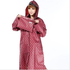 Bang Eva Resin Non-Toxic Lightweight Transparent Rain Jacket Ponchoraincoat (Red With White Dots) - Intl