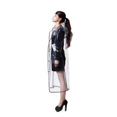 Bang Women Eva Hooded Transparent Rain Coat (Long-Black)