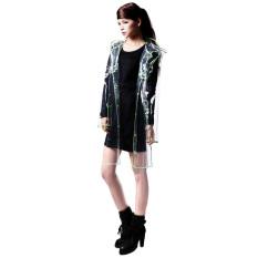 Bang Women Eva Hooded Transparent Rain Coat (Short-Green)