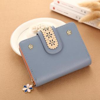 Baru wanita Korea pendek PU kulit kopling dompet renda bunga pemegang kartu (biru abu-