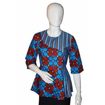 Batik Arjunaweda Blouse Wanita - Kawung Candy - Biru
