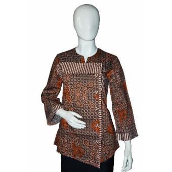 Harga Batik Arjunaweda Blus Batik Wanita Lurik Truntum Cokelat