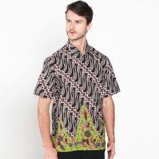 Batik Distro K7881 Kemeja Pria Motif Parang Besar - Hitam