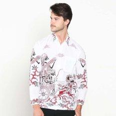Batik Distro K7906 Kemeja Pria Motif Wayang Panjang - Putih
