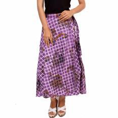 ... Batik Distro R908 Rok Wanita Lilit Garis Ungu