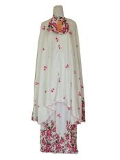 Batik Pitaloka Mukena Katun Bali Putih Motif Bunga Cantik [Pink Sakura]