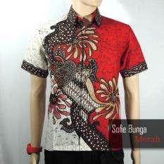 Batik Sofie 3149 Kemeja Hem Batik Pria Motif Bunga Sofie Merah