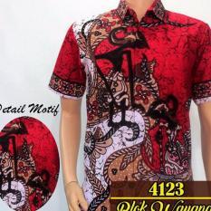 Batik Sofie 4123 Kemeja Wayang Pria Lengan pendek Slimfit [Merah]